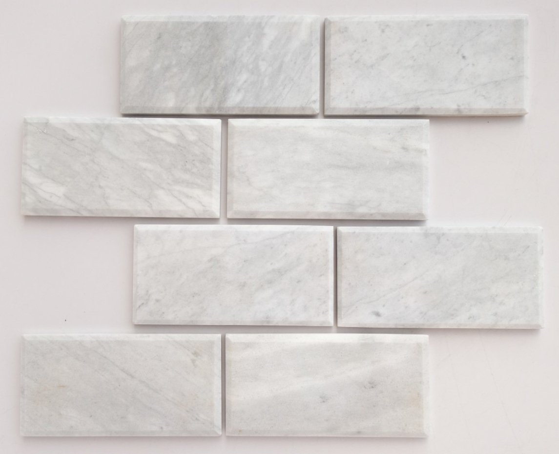 Fresh Bianco Venatino Marble 3 X 6 Deep-Beveled & Polished Subway Tile  ZS47