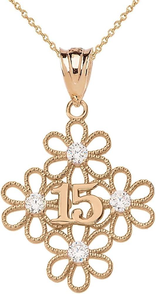 10k Rose Gold Filigree Flower 15-Anos Quinceanera Pendant Necklace