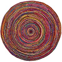 Safavieh Braided Collection BRD210A Handwoven Red and Multicolored Round Area Rug (3 in Diameter)