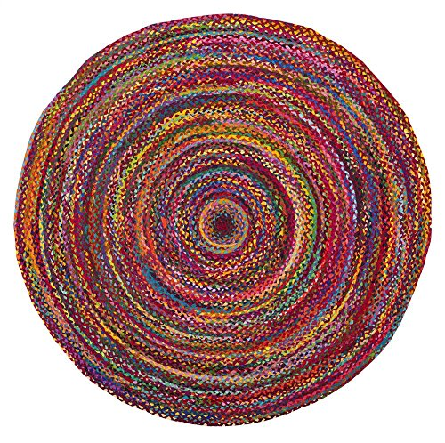 Safavieh Braided Collection BRD210A Handwoven Red and Multicolored Round Area Rug (3' in (American Braided Rugs)