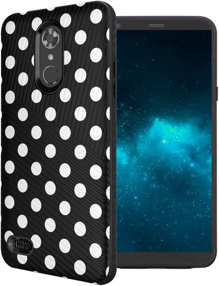 Capsule Case Compatible with LG Aristo 2 (X210), Aristo 2 Plus, Fortune 2, Rebel 3, Risio 3, Tribute Dynasty, Zone 4, K8, K8 Plus 2018 [Embossed Slim Case Black] - (Polka Dot Black)