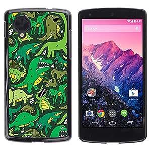 FECELL CITY // Duro Aluminio Pegatina PC Caso decorativo Funda Carcasa de Protección para LG Google Nexus 5 D820 D821 // Cartoon Dinosaur Green T Rex