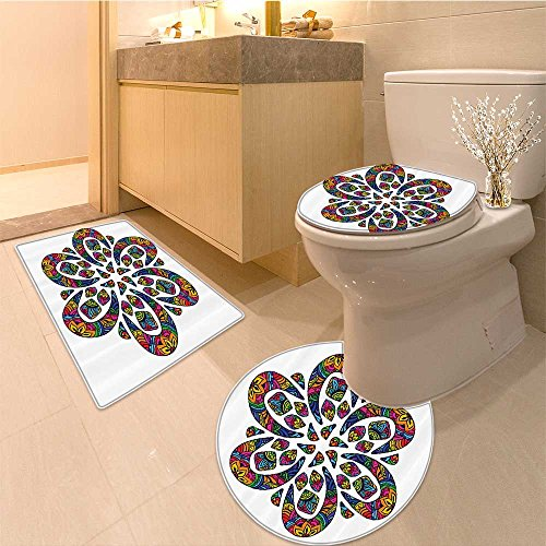 Rugs Collection Kaleidoscope (3 Piece Bath Rug Set Collection Round Pattern with Kaleidoscope Effects and Flora Lines a Print Fabric Ex Textures Non-Slip Bathroom Mats Contour Toilet Cover Rug)