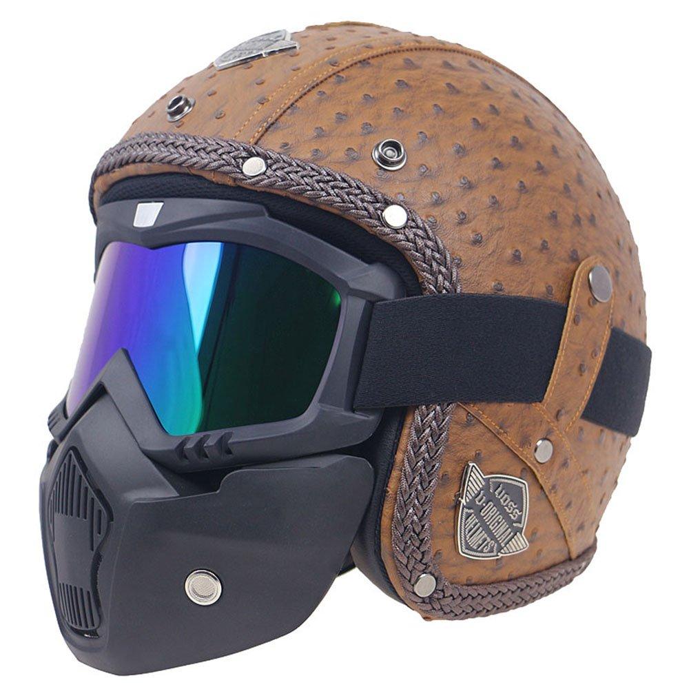 KKmoon Motorcycle Helmet Retro PU Leather Helmets Windproof and Sandproof Motorcycle Bike Full Face Helmet Plaid Brown L