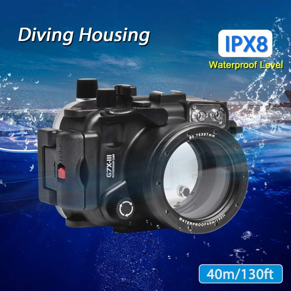 Sea ranas para Canon G7X-III 130ft//40m carcasa submarina
