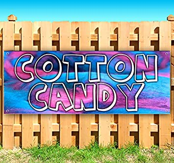 Cotton Candy Now Open Extra Large 13 oz Heavy Duty Vinyl Banner Sign with Metal Grommets Many Sizes Available Store Advertising Flag, New
