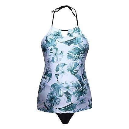 7d9d5ce34 QinMMROPA bañador Mujer Maternidad Tankini con Estampado de Hojas Premamá  Tankinis Mujer Tallas Grandes Maternidad Traje de Baño Bikini Push Up  Banadores  ...