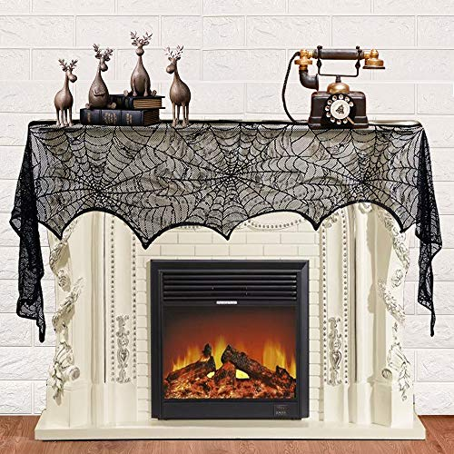 Halloween Decorations Black Lace Spider Web Fireplace Mantle Scarf Cover Halloween Cobweb Party Supplies for Indoor, Table Runner, Curtain, Door 18 x 96 inch