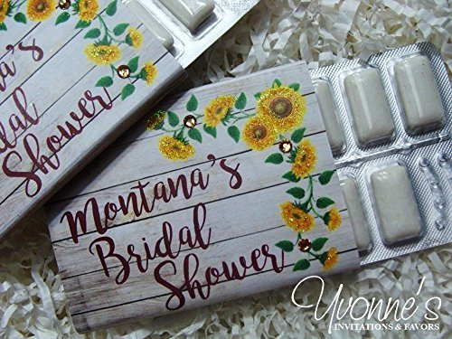 Boho Sunflower Bridal Shower Gum Wrappers Personalized-Bohemian Rustic Floral -Wedding-Sweet 16-30th-40th-50th-60th Birthday (SET OF 12) *GUM NOT INCLUDED * (Gums 12 Gum)