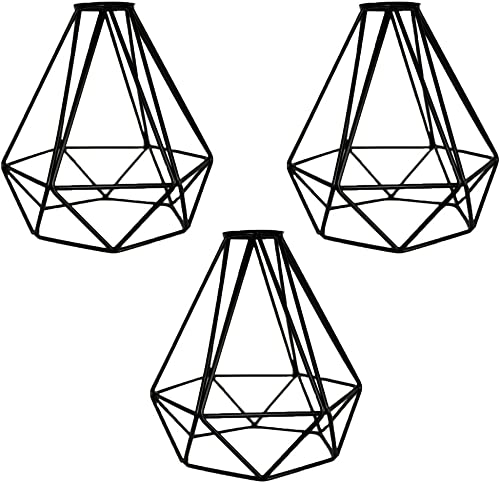 MKLOT Lighting Metal Lamp Guard for Pendant String Lights Vintage Lamp Holders Industrial Chandelier Ceiling Fixture Lamp Shade Iron Wire Diamonds Shape 3 Pack Lot