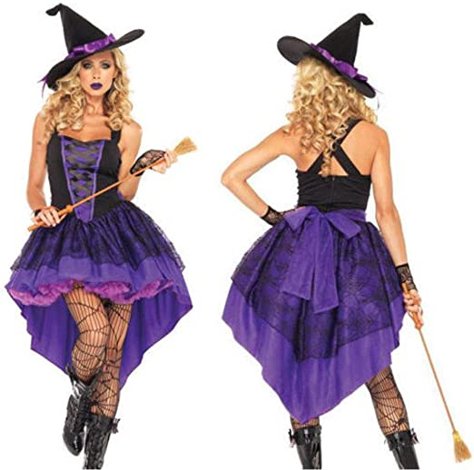 YHNUJMIK Disfraz de Bruja Morada Uniforme de Fiesta de Halloween ...