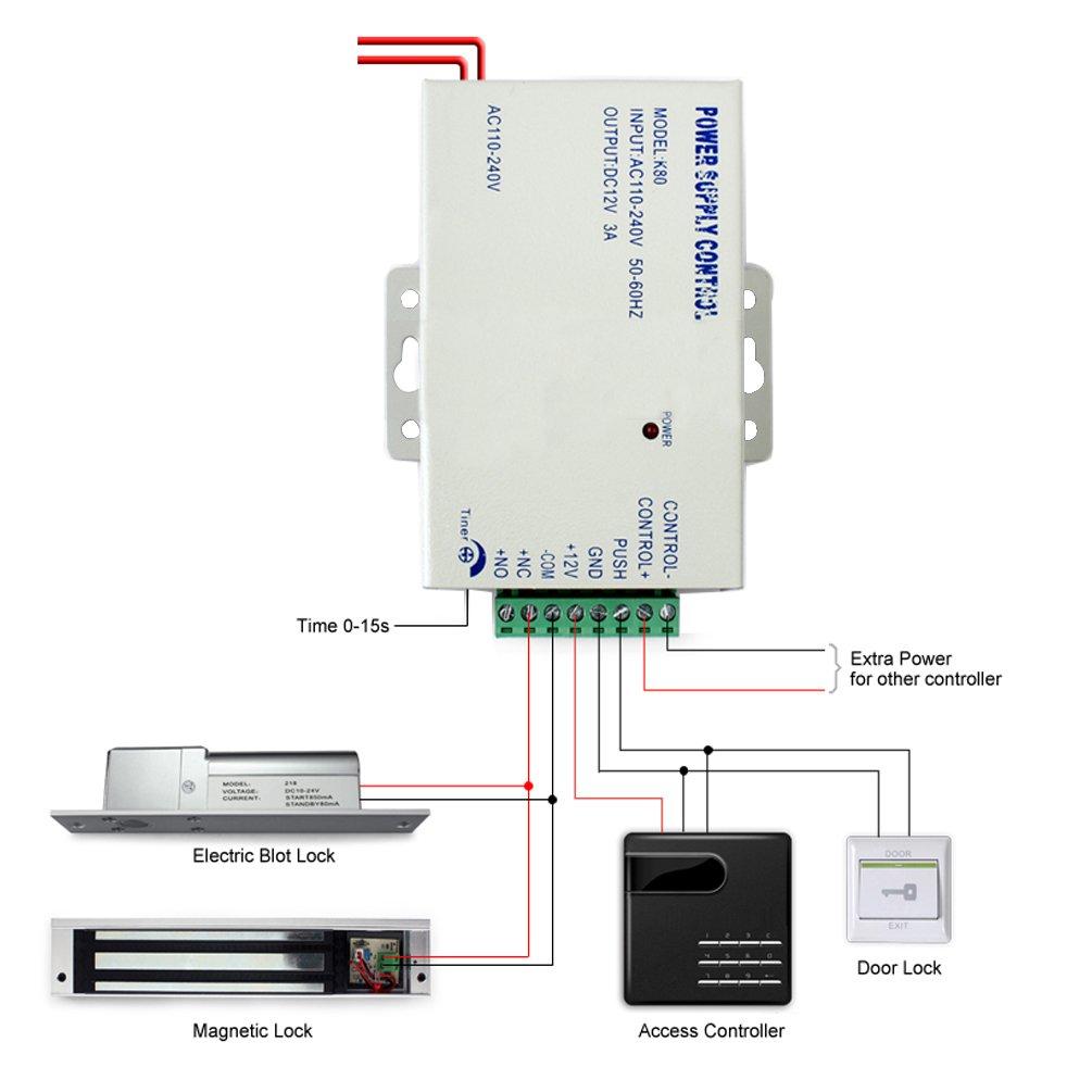amazon com generic k80 door access system electric power supply amazon com generic k80 door access system electric power supply control dc 12v 3a ac 110v home improvement