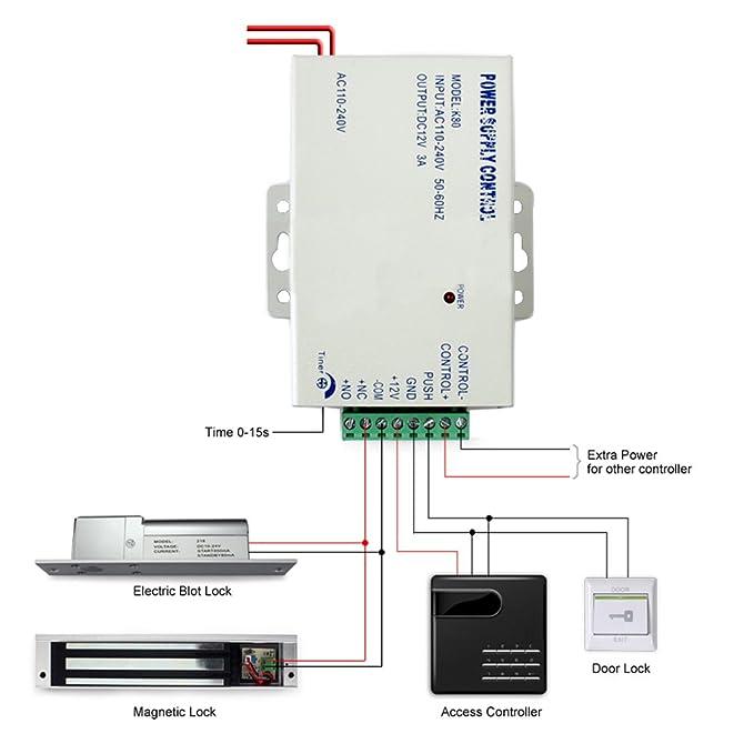 Amazon.com Generic K80 Door Access System Electric Power Supply Control DC 12V 3A/AC 110V Home Improvement  sc 1 st  Amazon.com & Amazon.com: Generic K80 Door Access System Electric Power Supply ...