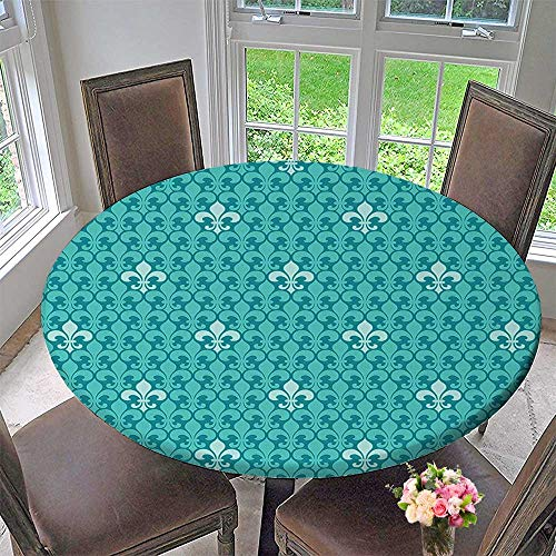 Luxury Round Table Cloth for Home use Fleur De Lis Pattern Ancient Lily Ornate Medieval nterior Monochromic Art for Buffet Table, Holiday Dinner 31.5
