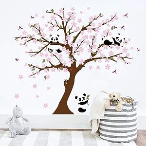 Runtoo Panda Wall Decal Cherry Blossom Wall Art Stickers for Living Room Bedroom Baby Nursery Kids Wall Décor