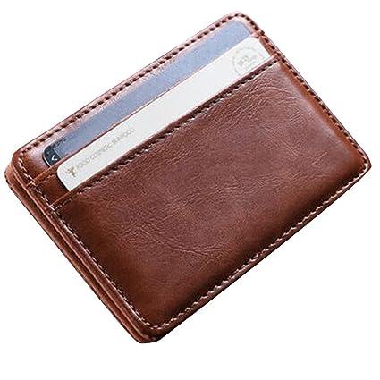 ALIKEEY Mini Billetera De Cuero Billetera ID Credit Card Holder Macho Pequeño Billetera Billeteras BW