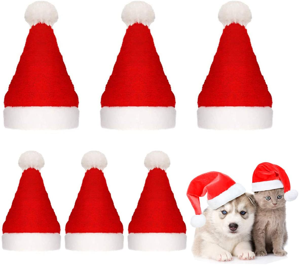 Frienda 6 Pieces Christmas Pet Costumes Dog Cat Santa Hat Scarf Collar Bow Tie for Cats Dogs Pets Christmas New Year