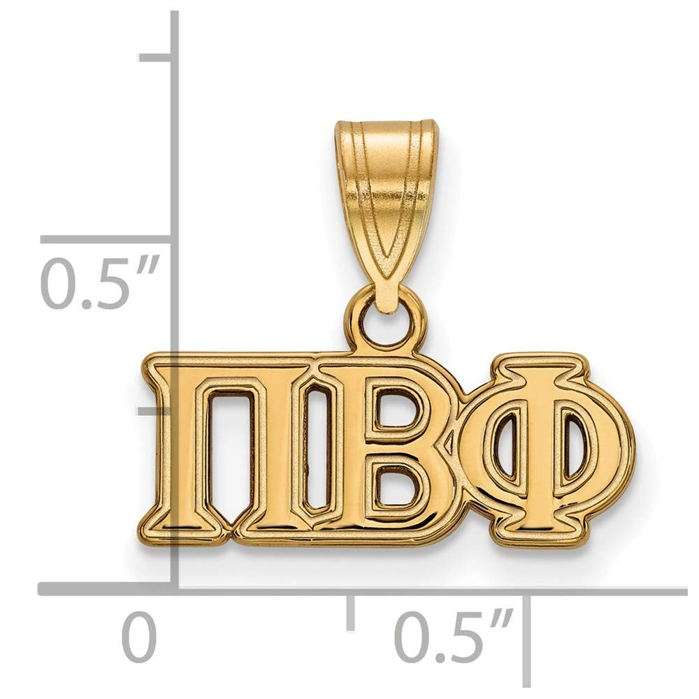 Roy Rose Jewelry Sterling Silver with 14K Yellow Gold-plated LogoArt Pi Beta Phi Medium Pendant