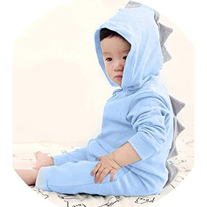 f4a755e09b3 Amazon.com  Dinosaur Hoodie Romper for Little Girls Boys Franterd Baby  Solid Pink Blue Zipper Jumpsuit Clothes  Sports   Outdoors