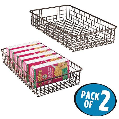 mDesign Wire Storage Basket for Kitchen, Pantry, Cabinet - Pack of 2, Slim, Bronze