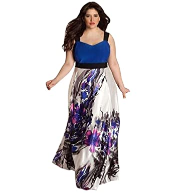Kanzd Plus Size Women Floral Printed Long Evening Party Dress Prom Gown Formal Dress Swin Dress