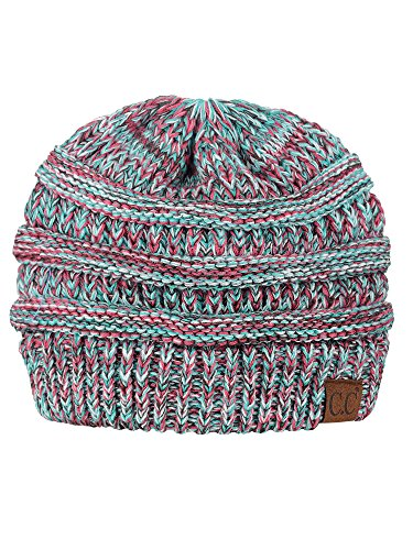 C.C Trendy Warm Chunky Soft Stretch Cable Knit Beanie Skully, Mint/Red Mix