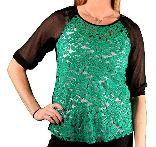 4 Sheer-Sleeve Flocked Floral Knit Top, Black/Teal, Size X-Large ()