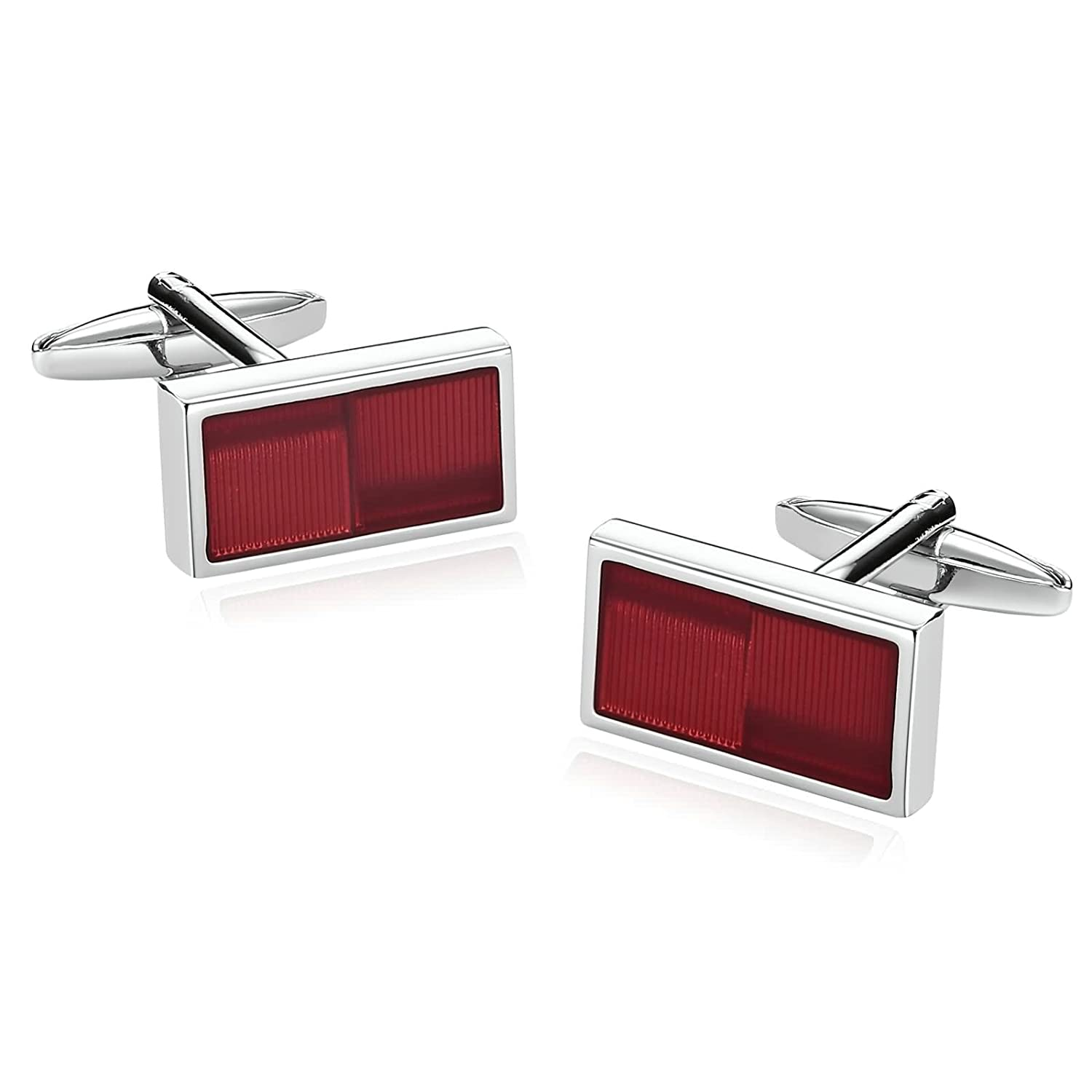 Gnzoe Men Stainless Steel Shirt Cuff Links Wedding Business Striped Silver Red GZCUFF651K7K471