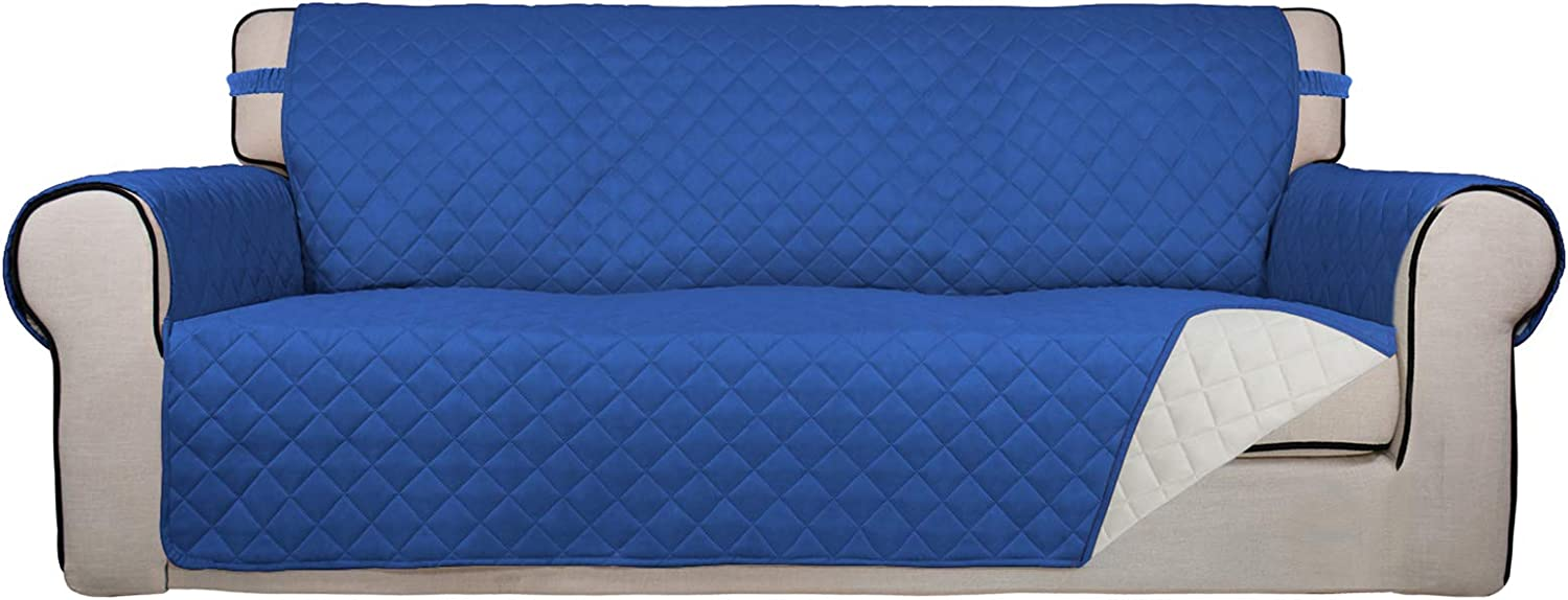 PureFit Reversible Quilted Sofa Cover, Water Resistant Slipcover Furniture Protector, Washable Couch Cover with Non Slip Foam and Elastic Straps for Kids, Pets (Sofa, Classic Blue/Ivory)
