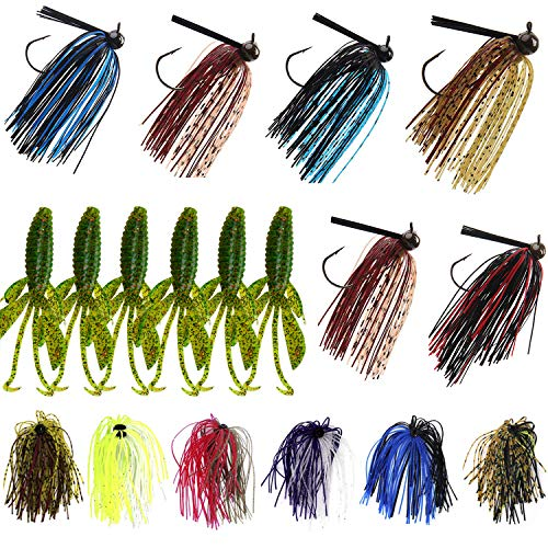 Bass Football Jigs Trailers Skirts Kit-18Pcs Bass Swim Jigs Silicon Rubber Skirt Artificial Baits Creature Baits Fishing Lure Kit Flipping Jig for Bass Fishing
