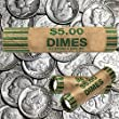 180 Preformed Dimes Tubes Paper Coin Wrappers 10 Cent Shotgun Rolls Counter Bank