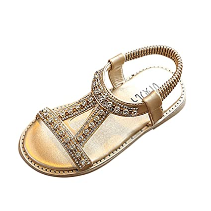 6fba59860 Amazon.com  Girl Bohemian Sandals Rhinestones Flat Sandals Ankle Strap Slip  on Sandals Casual Summer Beach Shoes Boho Shoes for Toddler Girls  Sports    ...