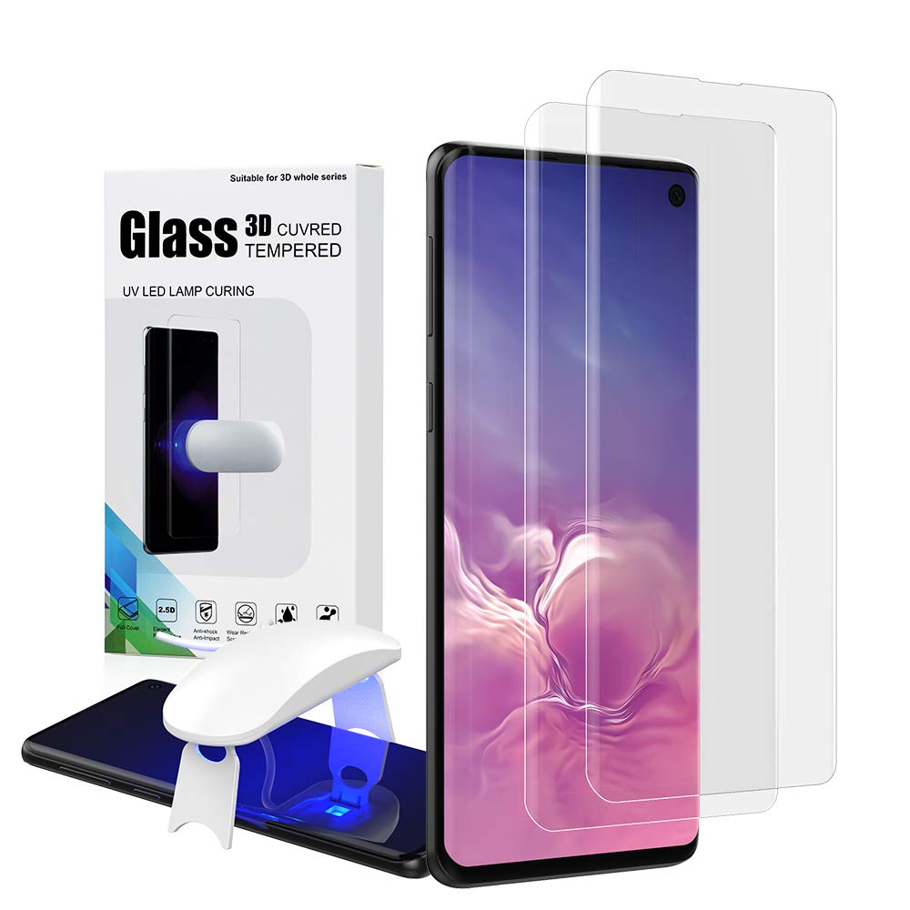 LJMLLC Galaxy S10 Plus Screen Protector,S10 Plus Tempered Glass, Fingerprint Scaner 3D Liquid Transparent Clear Full Curved Edge Friendly Anti-Scratch Coverage for Samsung Galaxy S10 Plus 2019-2 Pack