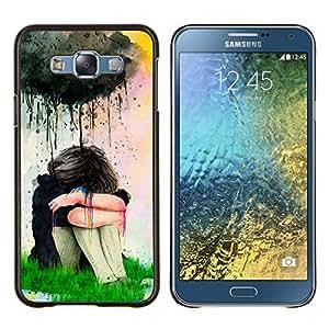 Pintura de la acuarela de la muchacha triste- Metal de aluminio y de plástico duro Caja del teléfono - Negro - Samsung Galaxy E7 / SM-E700