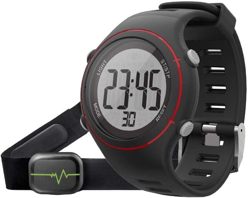 relojes deportivos frecuencia Nuevos Hombres Mujeres Reloj de pulsera deportivo Monitor de ritmo cardíaco digital Reloj para correr al aire libre Cronógrafo de alarma con correa para el pecho T037