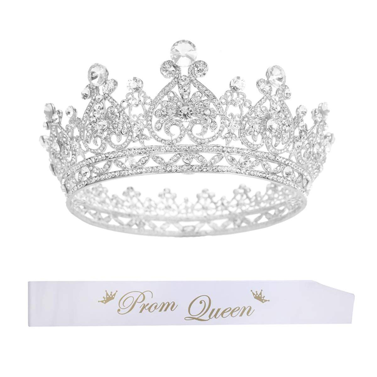 S SNUOY Silver Plated Rhinestone Full Round Wedding Crown and Sash for Bridal Party Accessories
