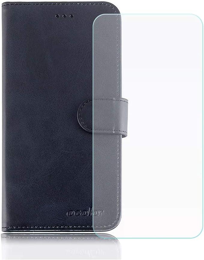 DQG Funda para Elephone P8 Mini Flip Folio Caja PU Cuero Caso Soporte Billetera Tapa Carcasa + Cristal Templado Protector de Pantalla para Elephone P8 Mini (5.0