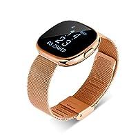 Touchscreen smartwatch Damen Herren - Ultradünnes Wasserdichtes Sportarmband aus Stahl mit GPS, Bluetooth Fitness und Herzfrequenzsensor, kompatibel mit Android- und iOS-Telefonen