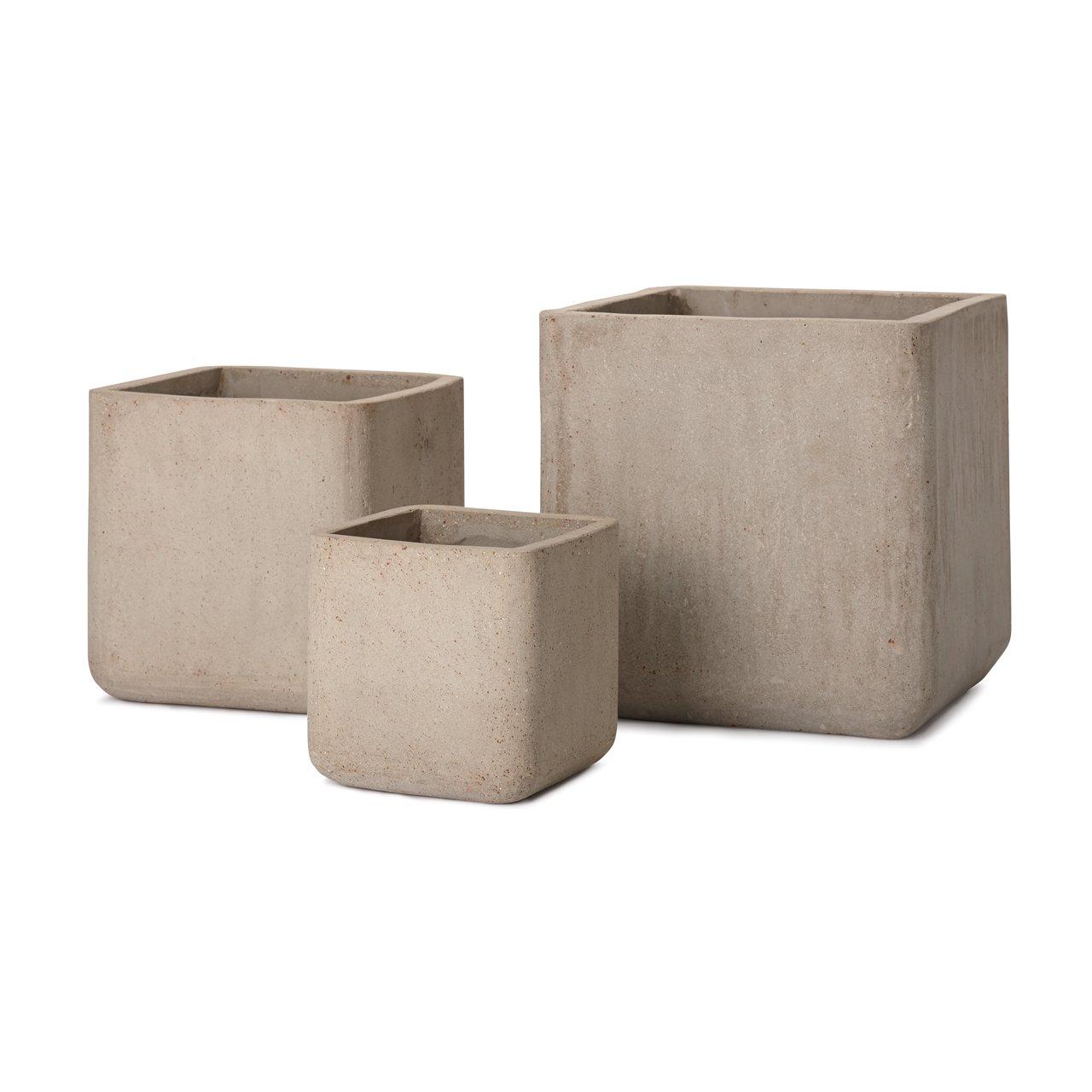 植木鉢 大型 コルテス キューブ 3/SET(L/M/S) ベージュ B00L7H9HC2 3SET(L/M/S)|ベージュ ベージュ 3SET(L/M/S)