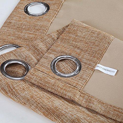 BEST DREAMCITY Blackout Faux Linen Curtains For Bedroom (Camel,52