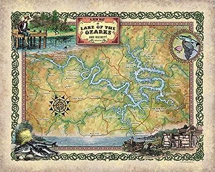 Amazon.com: Great River Arts Lake of The Ozarks, Georgia Map Wall ...