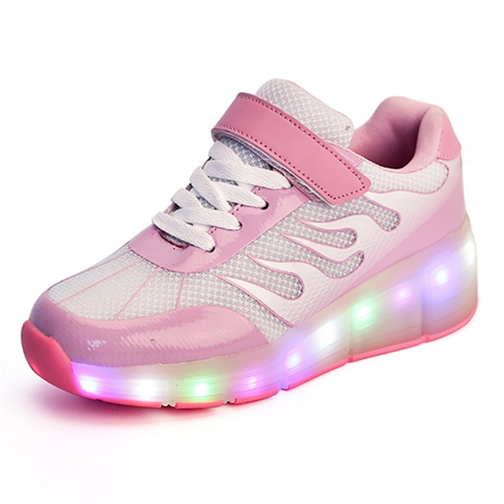 A2kmsmss5a Children Sneakers Wheels LED Luminous Boys Girl Shoes Glowing Sneakers with Charging Rollers Sneaker