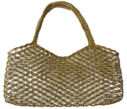 - Handwoven Straw Shoulder Bag, Macrame Hemp String Tote Purse, Beach Picnic Market Shoulder Bag Sz L
