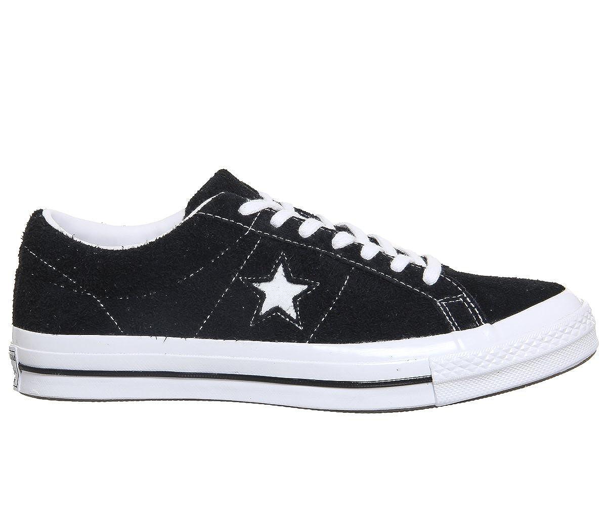 schwarz schwarz Weiß Converse Unisex-Erwachsene Lifestyle One Star Ox Leather Fitnessschuhe, Weißszlig;
