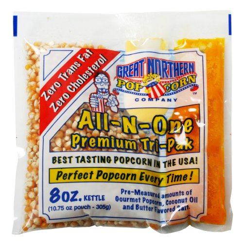 4108 Great Northern Popcorn Premium 8 Ounce Popcorn Portion Packs, Case of 40 (Best Way To Store Popcorn Kernels)
