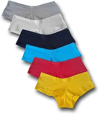 Brazilex Women's Boy Short Panties Cotton (6 Pack)