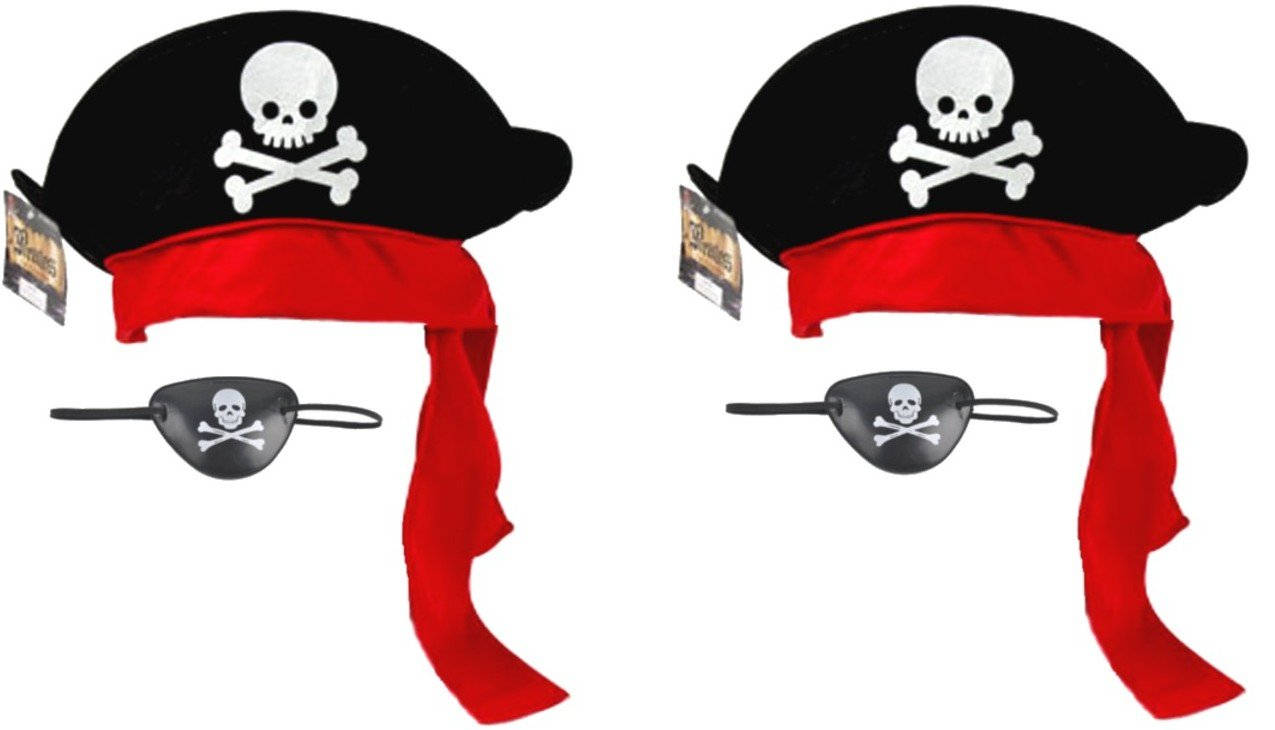 Two (2) Sets Of Pirate Party Caps/Hats With Eye Patches