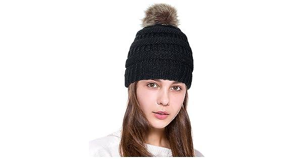 e7bcde94b30 comLamdgbway Pom Pom Beanie Hat Chunky Winter Knit Hat Stretch Faux Fur  Skull Cap Black
