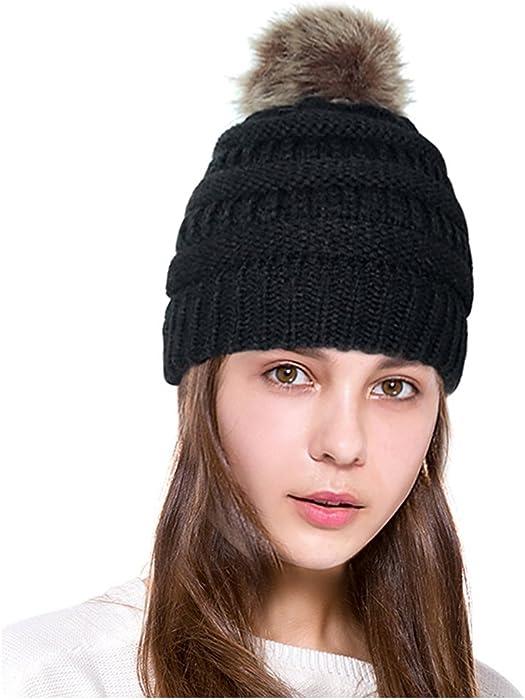 7ef60f6becf Lamdgbway Pom Pom Beanie Hat Chunky Winter Knit Hat Stretch Faux Fur Skull  Cap Black