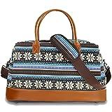 BLUBOON Weekender Overnight Bag Travel Women Ladies Canvas Duffle Tote Bags PU Trim (867-Green)
